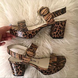 Animal print block heels